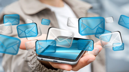 Businessman sending emails with phone '3D rendering'