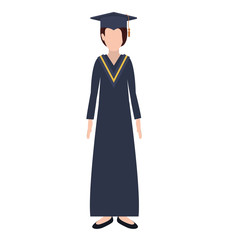 silhouette woman with graduation outfit vector illustration