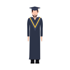silhouette man with graduation outfit with beard vector illustration