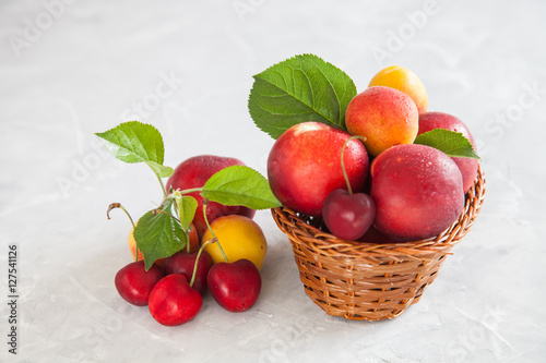 Photo: berries and fruit - a nectarine, an apricot and sweet cherry on ...