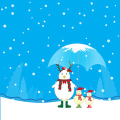 chicken family and winter season background