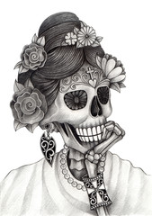 Skull art day of the dead.Art design women skull model action smiley face day of the dead festival hand pencil drawing on paper.