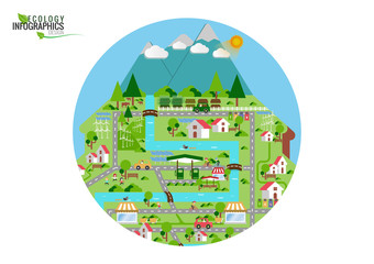 Infographic green ecology city and Renewable energy friendly con