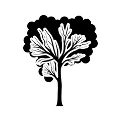 black and white tree trunk with foliage shape cloud vector illustration