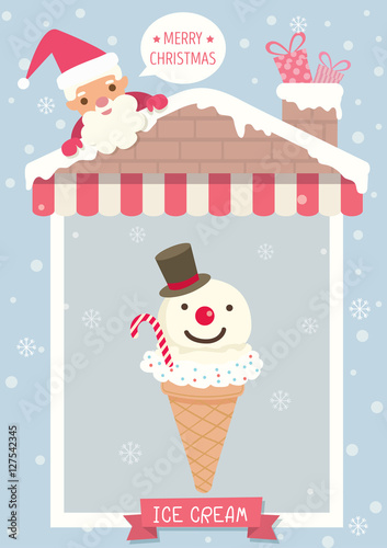Christmas Festival Of Ice.Poster Of Ice Cream Cone Decorated Like Snowman For