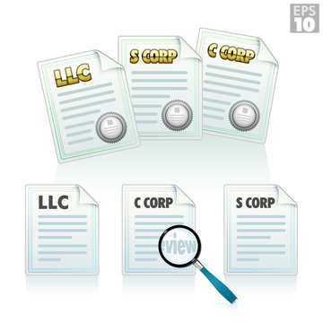 Articles of incorporation, LLC, S-corp, C-corp certificates and documents, magnifiying glass for review