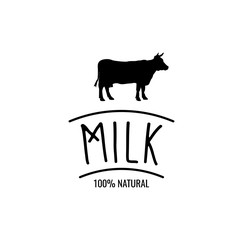 Cow Silhouette Label. Milk Badge 100 Natural. Vector Illustration.