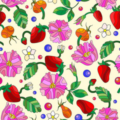 Seamless pattern with spring flowers in stained glass style, flowers, buds and leaves of  rosehip and strawberry on a light background