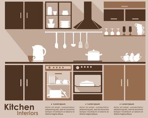 Kitchen interior infographic template