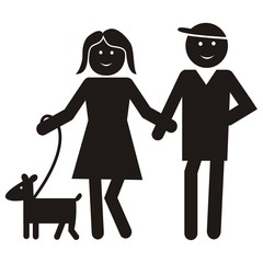 Figure, lady and man with dog, vector black icon