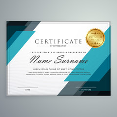 stylish certificate of appreciation award design template with g