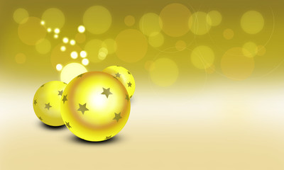 Xmas golden balls on yellow background , digitally created by computer software