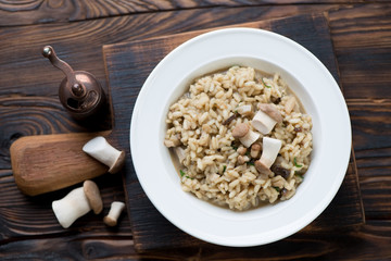 Risotto with porcini mushrooms over rustic wooden background