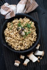 Risotto with porcini mushrooms and parsley in a skillet, closeup