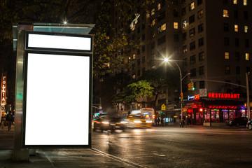 Blank advertising billboard in Manhattan at night