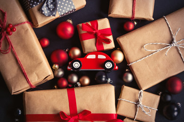 Christmas gift and little toy car