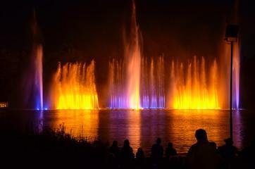 Leuchtende Farben bei den Wasserspielen im Park Planten un Blomen Hamburg