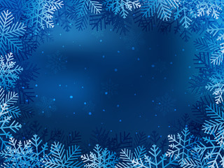 Christmas background with blue and white snowflakes in various styles. Abstract Vector Illustration. Eps10.