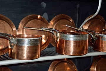 antique copper pans