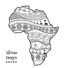 Textured vector map of Africa. Hand-drawn ethno pattern, tribal background. Vector illustration.