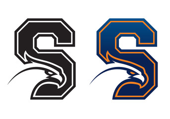 Letter S eagle head college logo