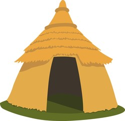 Straw hut of prehistoric men in Africa. African classic house.