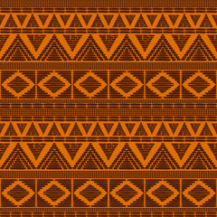 Tribal pattern vector seamless. African print with in sun orange colors. Background for fabric, wallpaper, wrapping paper and card template.