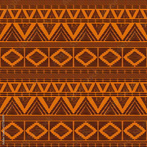 Tribal pattern vector seamless  African print with in sun orange