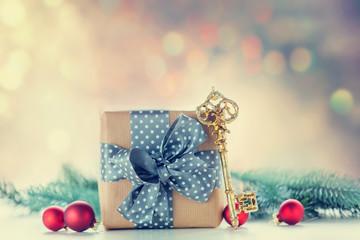 Christmas gift box and key