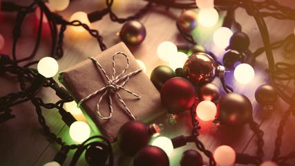 Christmas gift and fairy lights