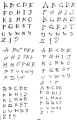 Hand drawn alphabet letters Vector eps10