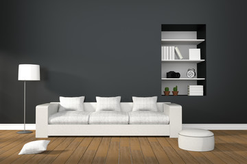 3D Rendering : illustration of Modern living-room interior with white sofa furniture against matt black wall.book shelf in hole of wall.natural light from outside of the room