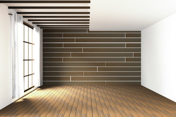 3D rendering : illustration of large spacious room.natural sun light from glass windows.Empty Room Interior in wooden wall.modern interior design.wooden floor and wall