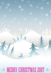 Christmas winter forest greeting card
