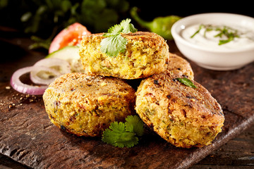 Tasty falafel patties with chickpea and fava beans