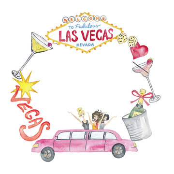 Las Vegas Illustration Casino Watercolor Hand-painted Isolated on the white Party Vegas Clipart Bright