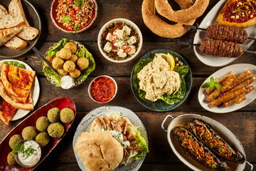 Enormous buffet of middle eastern cuisine