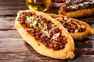Turkish pizza bread with meat and spices