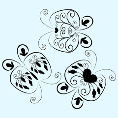 Vector icon, symbol, butterfly, silhouettes