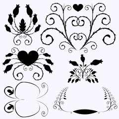 Vector set of patterns, flowers, hearts and butterflies.
