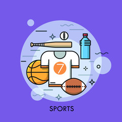 Sports equipment for player, sporting goods and sportswear shop logo