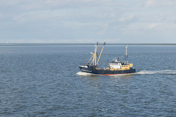 Fishing boat on the Wadden Sea .