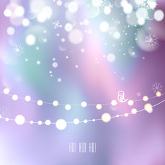 Elegant Christmas background with snowflakes, bokeh, garland and place for text. Northern lights background. Vector Illustration.