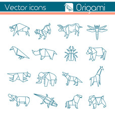 Animal origami, Vector icons.