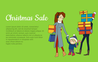 Christmas Sale Banner. Family Going with Presents