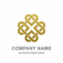 Geometric Square Flower Heart Love Morocco Ornament Motif Decoration Business Company Stock Vector Logo Design Template