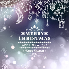 Merry Christmas and Happy New Year card. Christmas typographic message. Vector bokeh background, festive defocused lights, snowflakes, text