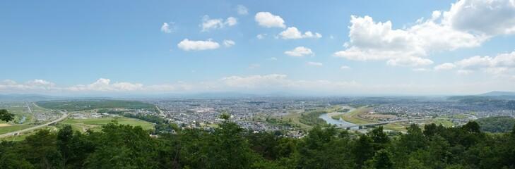 嵐山から見た旭川市の風景