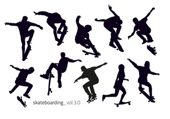 Set of black silhouettes of skateboarders doing jumping