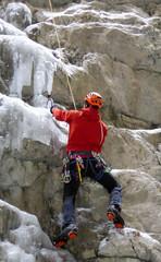 mixed climbing in the Serrai di Sottofuda in the Italian Dolomites